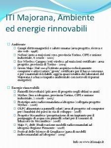 ITI Majorana Ambiente ed energie rinnovabili Ambiente Campi