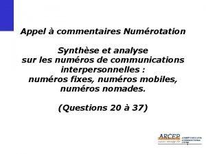 Appel commentaires Numrotation Synthse et analyse sur les