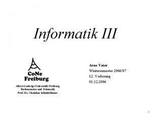 Informatik III Arne Vater Wintersemester 200607 12 Vorlesung