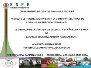 DEPARTAMENTO DE CIENCIAS HUMANAS Y SOCIALES PROYECTO DE