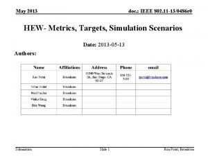 May 2013 doc IEEE 802 11 130486 r