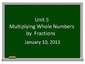 Unit 5 Multiplying Whole Numbers by Fractions January