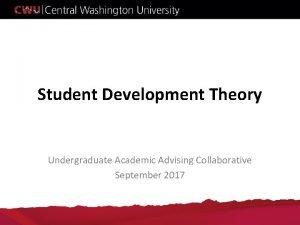 Student Development Theory Undergraduate Academic Advising Collaborative September