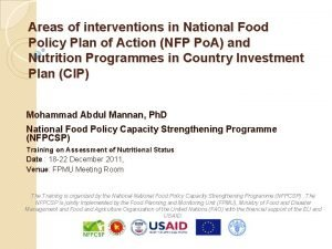 Areas of interventions in National Food Policy Plan
