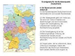 Grundgesetz fr die Bundesrepublik Deutschland II Der Bund