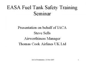 EASA Fuel Tank Safety Training Seminar Presentation on