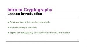 Intro to Cryptography Lesson Introduction Basics of encryption