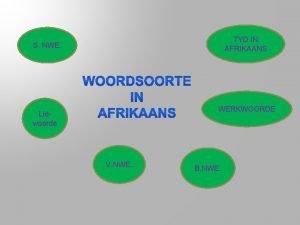 TYD IN AFRIKAANS S NWE WERKWOORDE Lidwoorde V