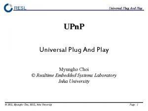Universal Plug And Play UPn P Universal Plug