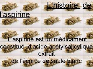 Lhistoire de laspirine Laspirine est un mdicament constitu