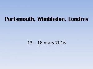 Portsmouth Wimbledon Londres 13 18 mars 2016 Programme