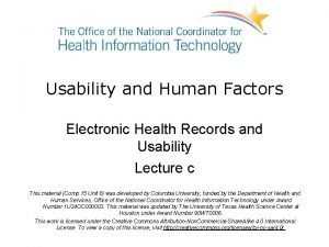 Usability and Human Factors Electronic Health Records and