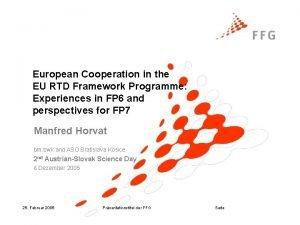 European Cooperation in the EU RTD Framework Programme
