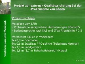 Projekt zur externen Qualittssicherung bei der Probenahme von
