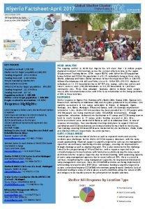 Global Shelter Cluster Nigeria FactsheetApril 2017 Shelter Cluster