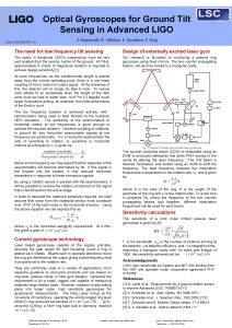 Optical Gyroscopes for Ground Tilt Sensing in Advanced