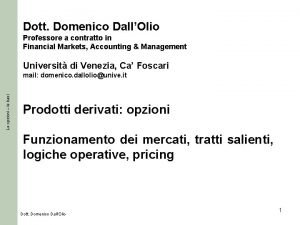 Dott Domenico DallOlio Professore a contratto in Financial