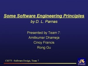 Some Software Engineering Principles by D L Parnas