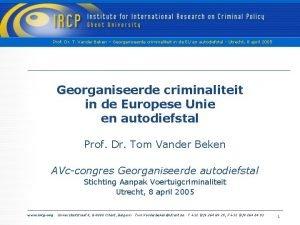 Prof Dr T Vander Beken Georganiseerde criminaliteit in