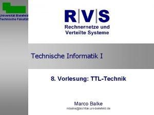 Universitt Bielefeld Technische Fakultt Technische Informatik I 8