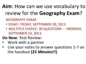 Aim How can we use vocabulary to review