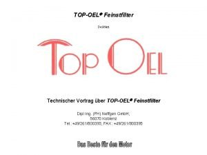 TOPOEL Feinstfilter Deckblatt Technischer Vortrag ber TOPOEL Feinstfilter