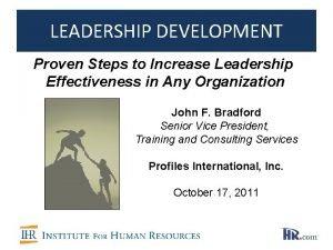 LEADERSHIP DEVELOPMENT Proven Steps to Increase Leadership Effectiveness