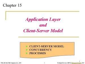 Chapter 15 Application Layer and ClientServer Model CLIENTSERVER