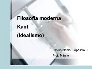 Filosofia moderna Kant Idealismo Ensino Mdio Apostila 0