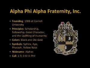 Alpha Phi Alpha Fraternity Inc Founding 1906 at