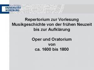 Repertorium zur Vorlesung Musikgeschichte von der frhen Neuzeit