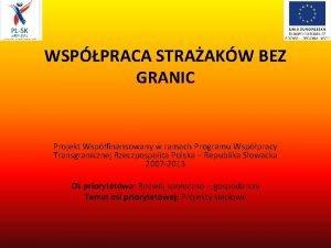 WSPPRACA STRAAKW BEZ GRANIC Projekt Wspfinansowany w ramach