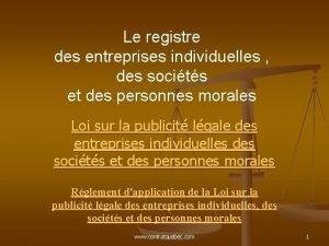 Le registre des entreprises individuelles des socits et