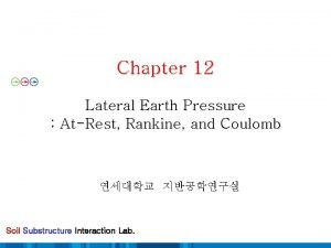 Chapter 12 Lateral Earth Pressure AtRest Rankine and