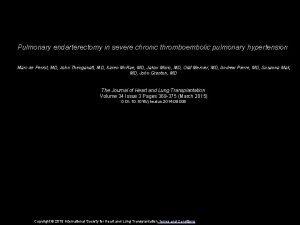 Pulmonary endarterectomy in severe chronic thromboembolic pulmonary hypertension