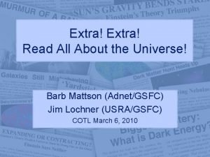Extra Read All About the Universe Barb Mattson