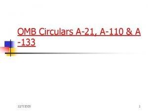 OMB Circulars A21 A110 A 133 1272020 1