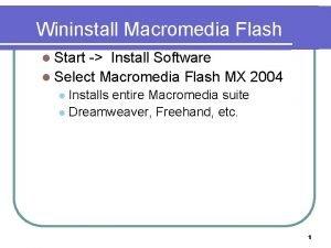 Wininstall Macromedia Flash l Start Install Software l