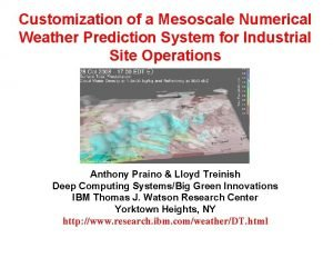 Customization of a Mesoscale Numerical Weather Prediction System