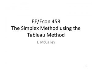 EEEcon 458 The Simplex Method using the Tableau
