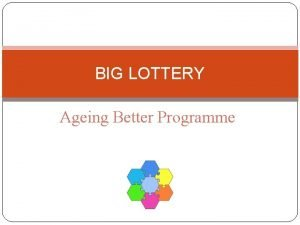 BIG LOTTERY Ageing Better Programme What the Lottery