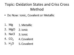 Topic Oxidation States and Criss Cross Method Do