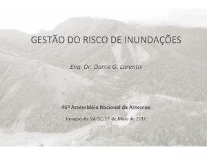 GESTO DO RISCO DE INUNDAES Eng Dr Dante