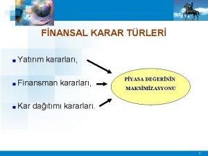 FNANSAL KARAR TRLER Yatrm kararlar Finansman Kar kararlar