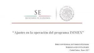 Ajustes en la operacin del programa IMMEX DIRECCIN