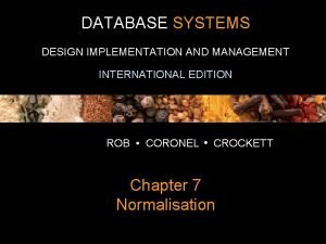 DATABASE SYSTEMS DESIGN IMPLEMENTATION AND MANAGEMENT INTERNATIONAL EDITION