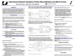 AttachmentRelated Variables Predict Moral Mindset and Moral Action