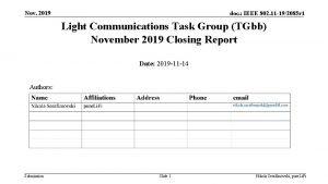 Nov 2019 doc IEEE 802 11 192085 r