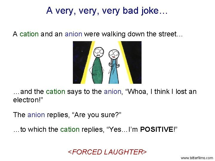 A very very bad joke A cation and