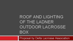 ROOF AND LIGHTING OF THE LADNER OUTDOOR LACROSSE